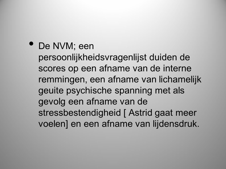 • De NVM; een persoonlijkheidsvragenlijst duiden de scores op een afname van de interne remmingen, een afname van lichamelijk geuite psychische spanni