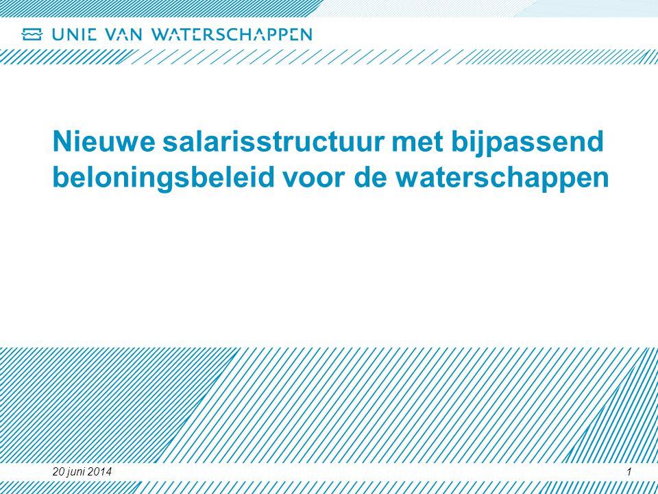 20 juni 20141 Nieuwe salarisstructuur met bijpassend beloningsbeleid voor de waterschappen