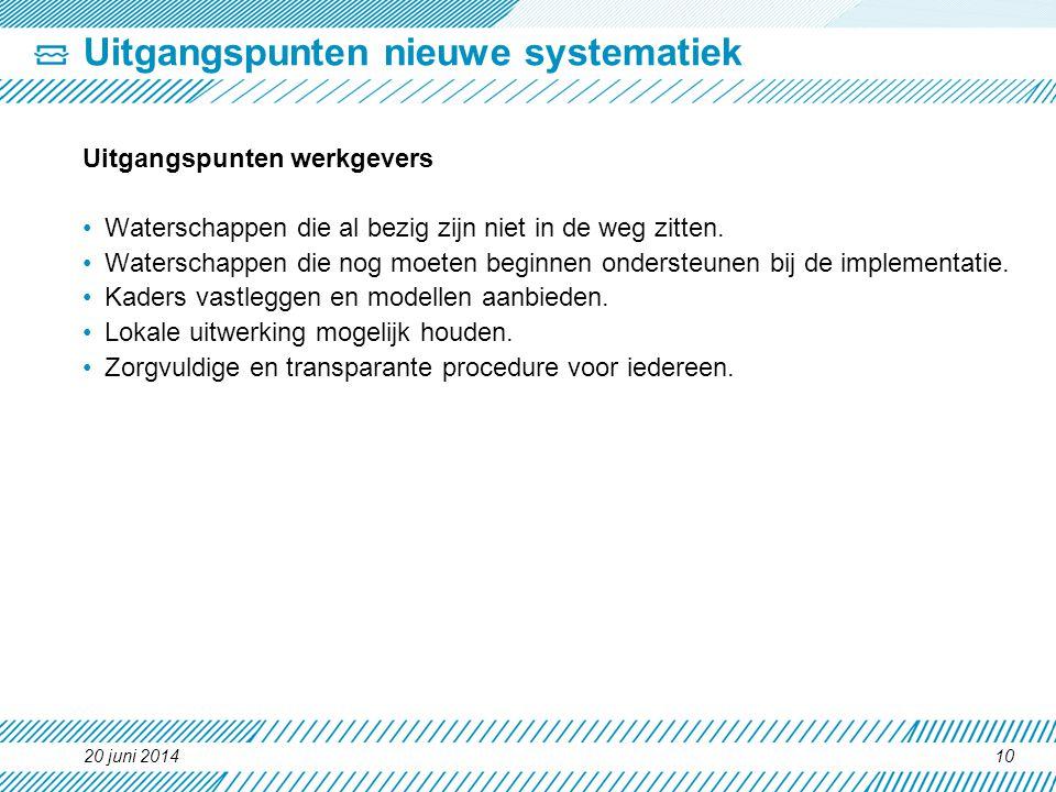 Uitgangspunten nieuwe systematiek Uitgangspunten werkgevers •Waterschappen die al bezig zijn niet in de weg zitten. •Waterschappen die nog moeten begi