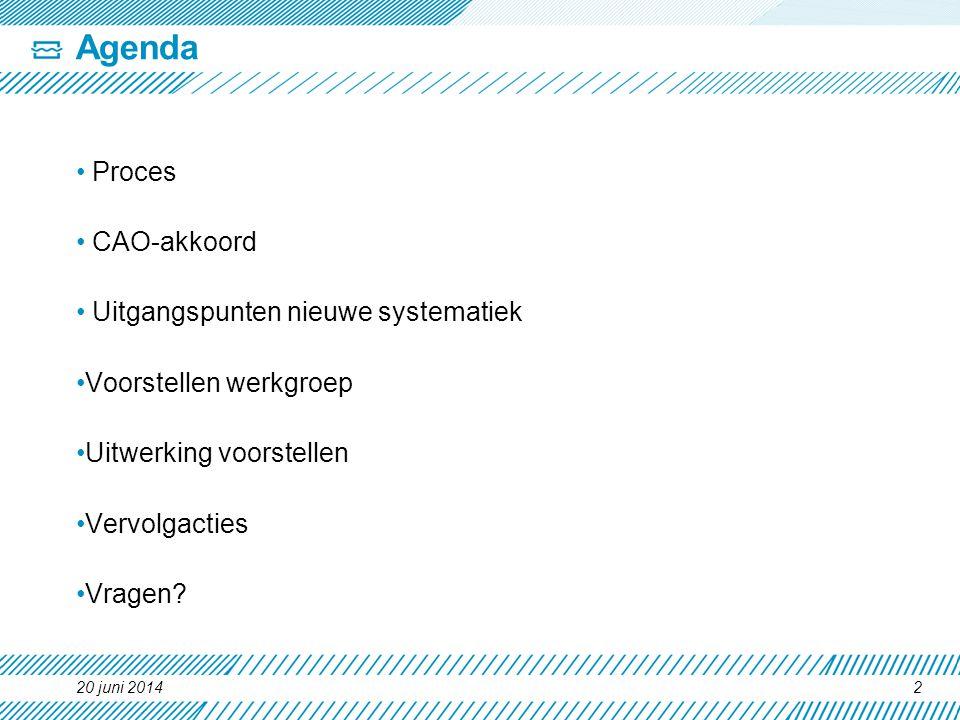 20 juni 20142 Agenda • Proces • CAO-akkoord • Uitgangspunten nieuwe systematiek •Voorstellen werkgroep •Uitwerking voorstellen •Vervolgacties •Vragen?