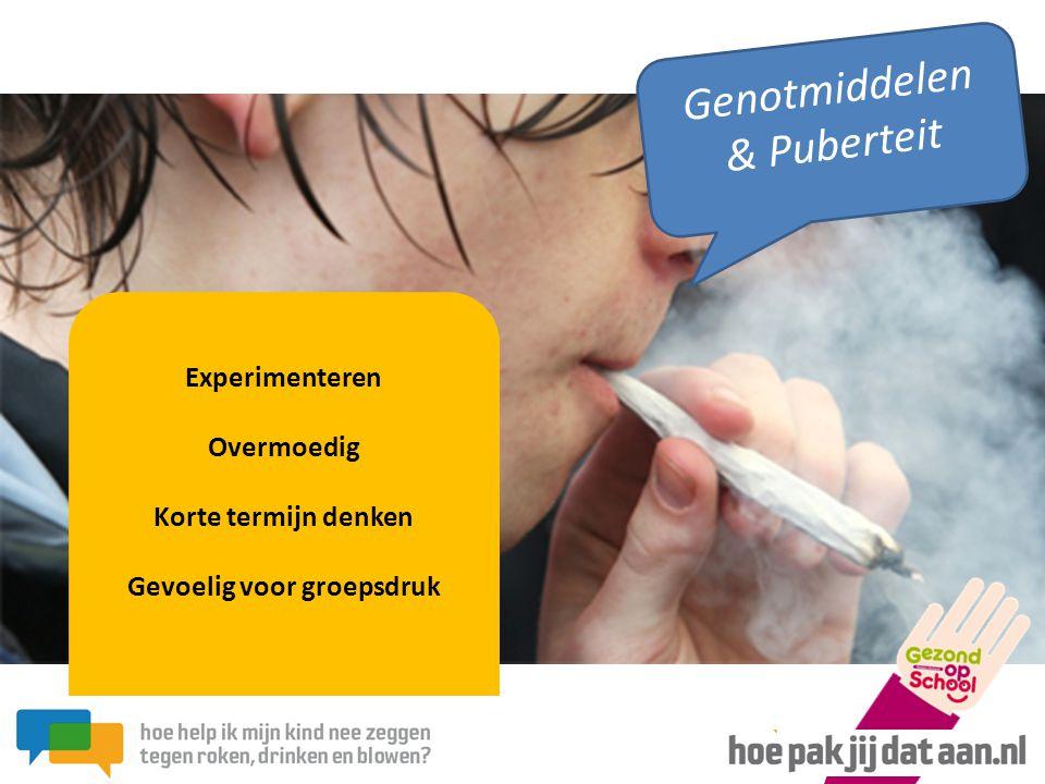 Experimenteren Overmoedig Korte termijn denken Gevoelig voor groepsdruk Genotmiddelen & Puberteit