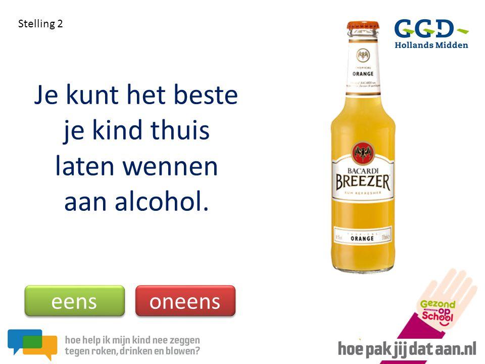 Je kunt het beste je kind thuis laten wennen aan alcohol. Stelling 2 eens oneens