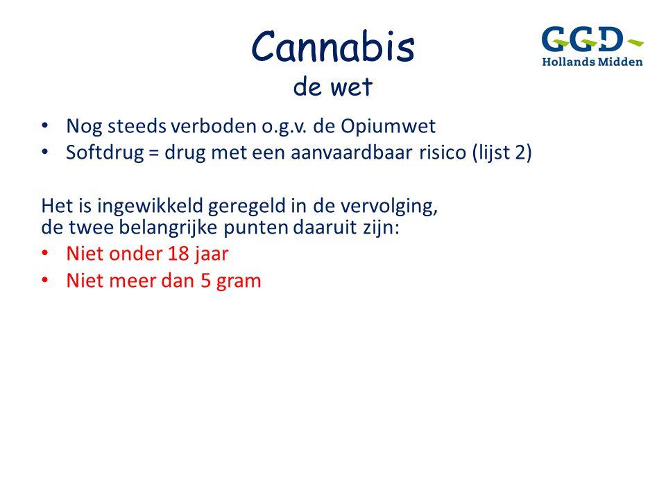 Cannabis de wet • Nog steeds verboden o.g.v. de Opiumwet • Softdrug = drug met een aanvaardbaar risico (lijst 2) Het is ingewikkeld geregeld in de ver