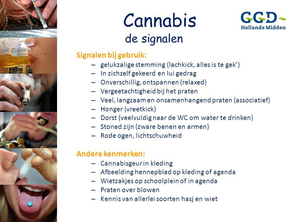 Cannabis de signalen Signalen bij gebruik: – gelukzalige stemming (lachkick, alles is te gek') – In zichzelf gekeerd en lui gedrag – Onverschillig, on