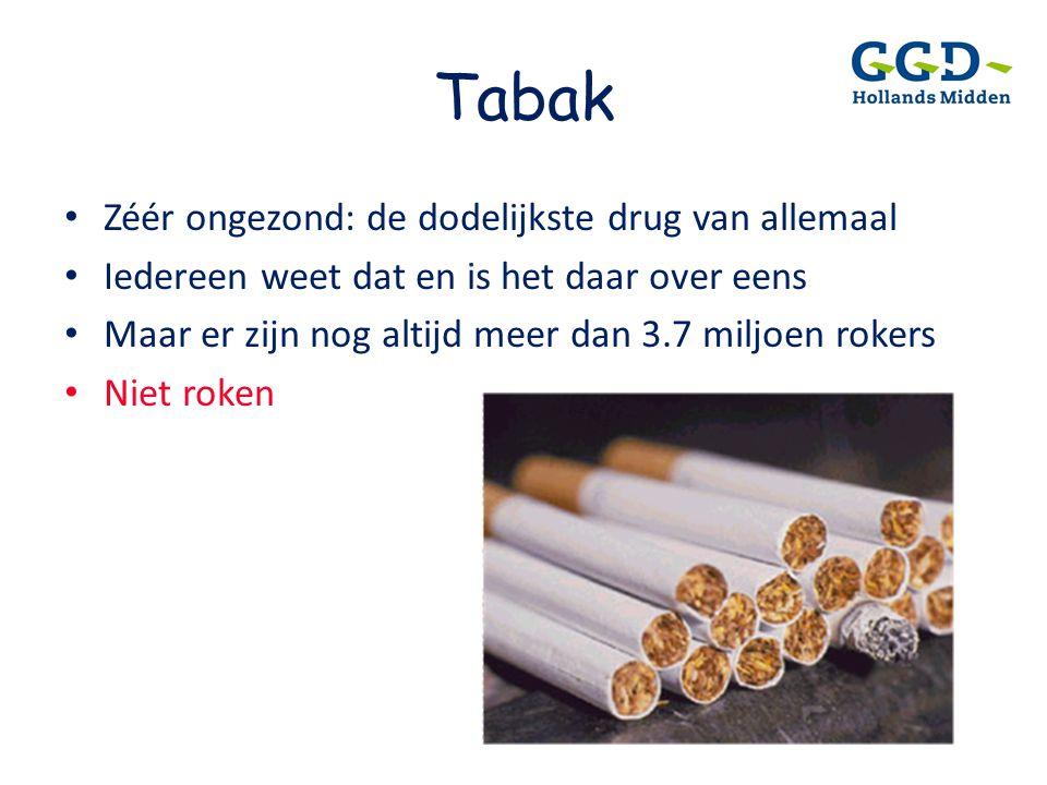 Tabak • Zéér ongezond: de dodelijkste drug van allemaal • Iedereen weet dat en is het daar over eens • Maar er zijn nog altijd meer dan 3.7 miljoen ro
