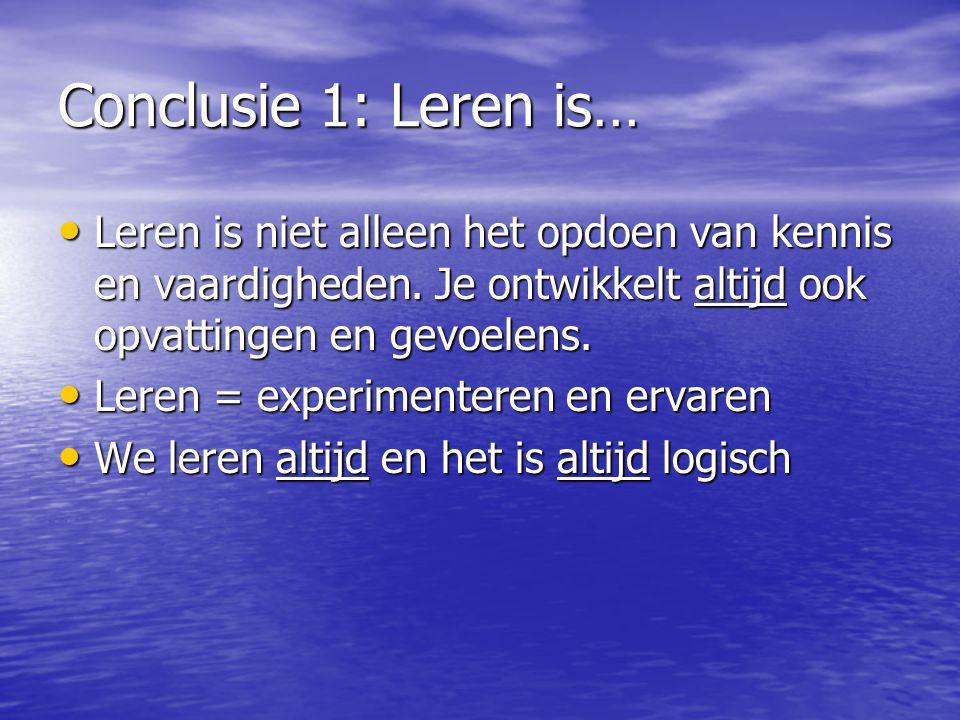 Conclusie 1: Leren is… • Leren is niet alleen het opdoen van kennis en vaardigheden.