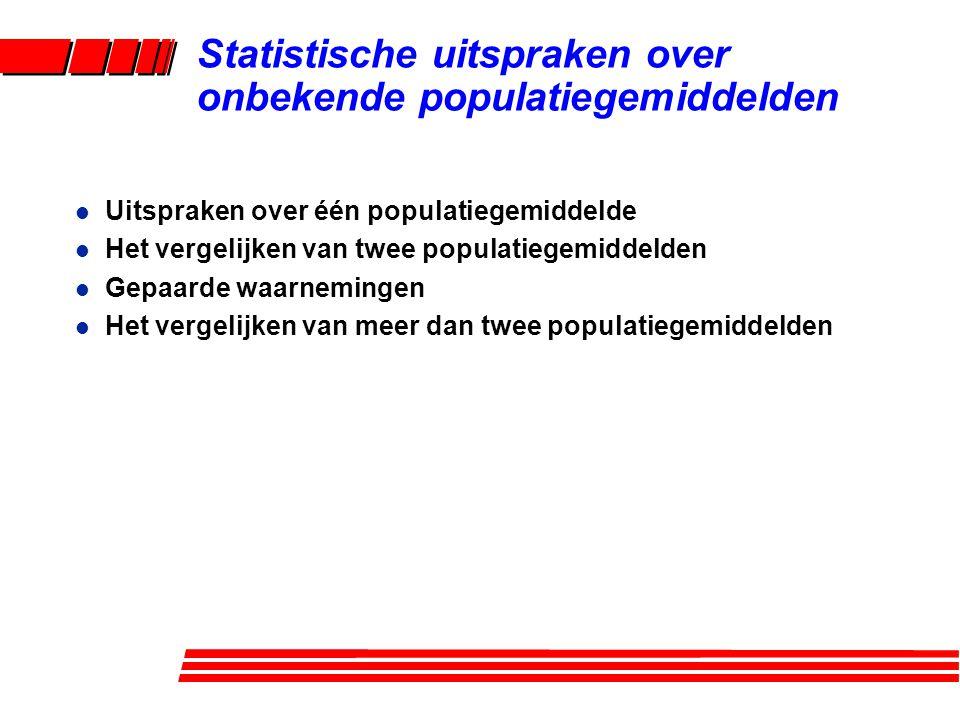 Statistische uitspraken over onbekende populatiegemiddelden l Uitspraken over één populatiegemiddelde l Het vergelijken van twee populatiegemiddelden l Gepaarde waarnemingen l Het vergelijken van meer dan twee populatiegemiddelden