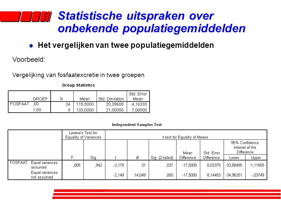 l Het vergelijken van twee populatiegemiddelden Voorbeeld: Vergelijking van fosfaatexcretie in twee groepen Statistische uitspraken over onbekende populatiegemiddelden