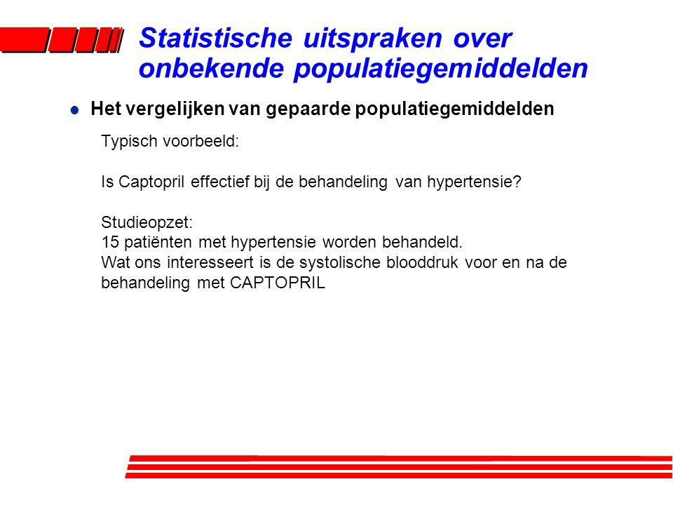 l Het vergelijken van gepaarde populatiegemiddelden Statistische uitspraken over onbekende populatiegemiddelden Typisch voorbeeld: Is Captopril effectief bij de behandeling van hypertensie.