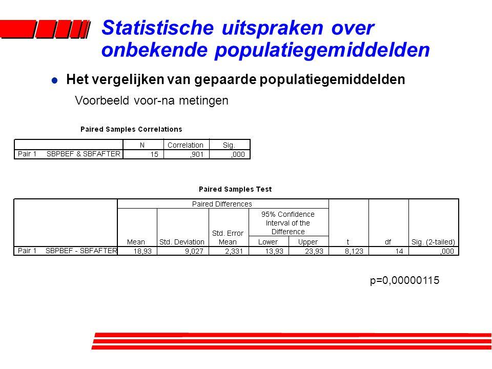 l Het vergelijken van gepaarde populatiegemiddelden Voorbeeld voor-na metingen Statistische uitspraken over onbekende populatiegemiddelden p=0,00000115