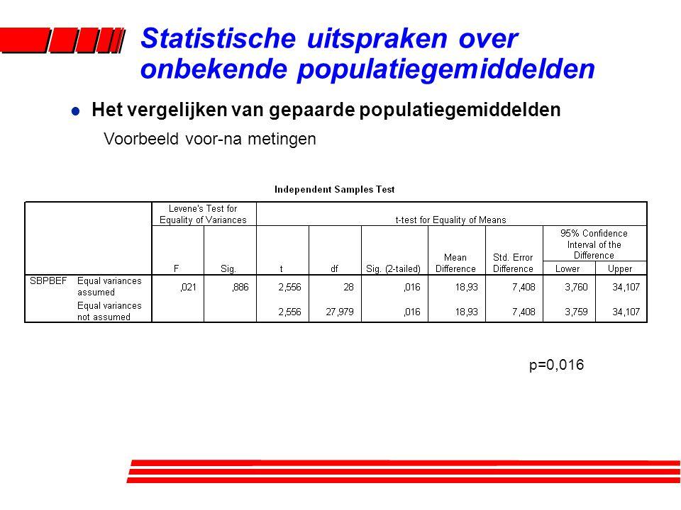 l Het vergelijken van gepaarde populatiegemiddelden Voorbeeld voor-na metingen Statistische uitspraken over onbekende populatiegemiddelden p=0,016