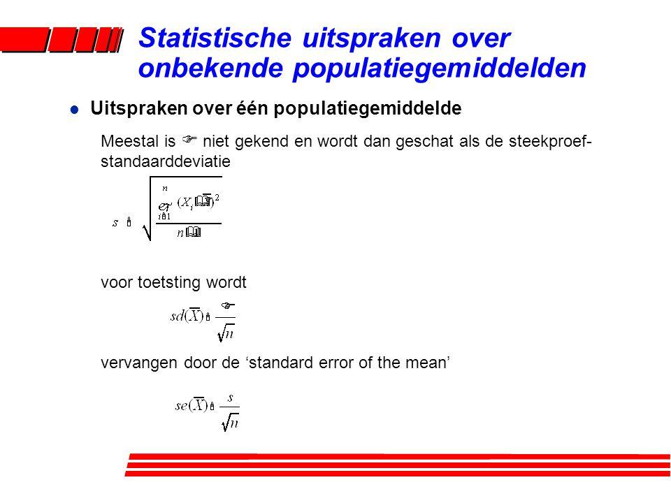 l Uitspraken over één populatiegemiddelde Meestal is F niet gekend en wordt dan geschat als de steekproef- standaarddeviatie voor toetsting wordt vervangen door de 'standard error of the mean' Statistische uitspraken over onbekende populatiegemiddelden