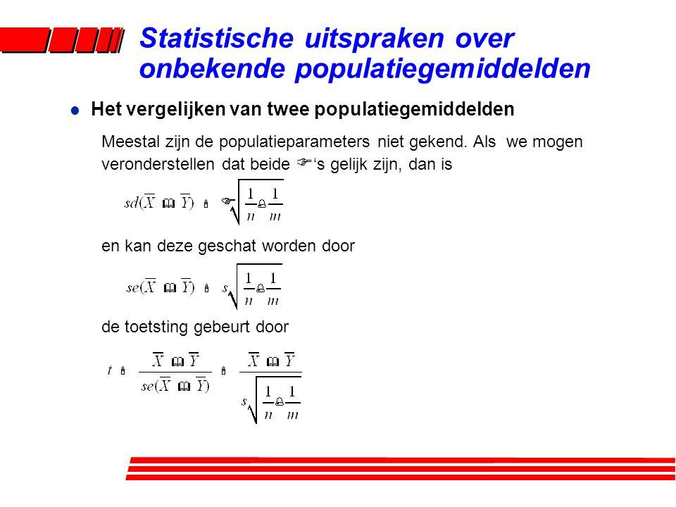 l Het vergelijken van twee populatiegemiddelden Meestal zijn de populatieparameters niet gekend.