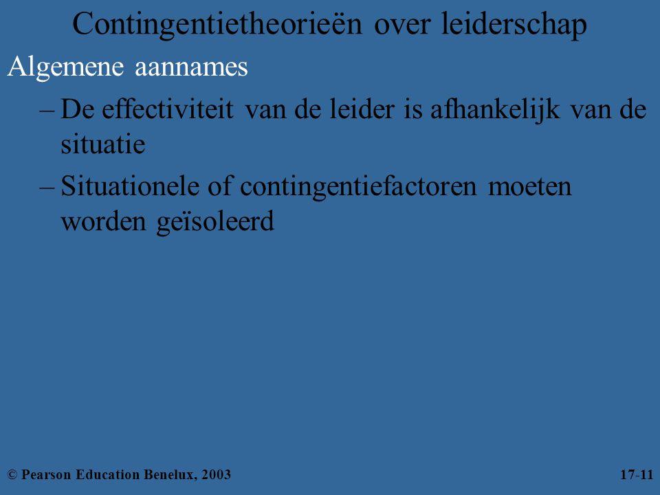 Contingentietheorieën over leiderschap Algemene aannames –De effectiviteit van de leider is afhankelijk van de situatie –Situationele of contingentief