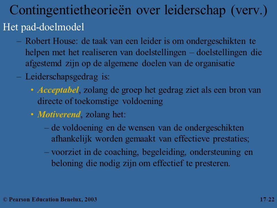 Contingentietheorieën over leiderschap (verv.) Het pad-doelmodel –Robert House: de taak van een leider is om ondergeschikten te helpen met het realise