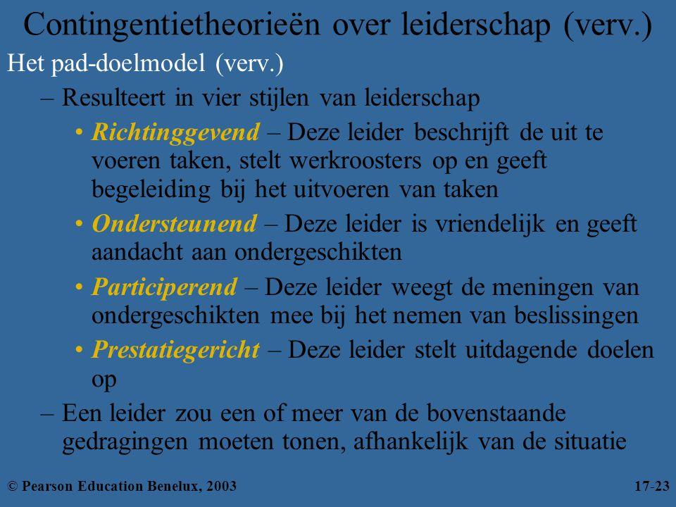 Contingentietheorieën over leiderschap (verv.) Het pad-doelmodel (verv.) –Resulteert in vier stijlen van leiderschap •Richtinggevend – Deze leider bes