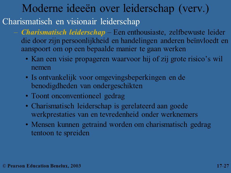 Moderne ideeën over leiderschap (verv.) Charismatisch en visionair leiderschap –Charismatisch leiderschap – Een enthousiaste, zelfbewuste leider die d