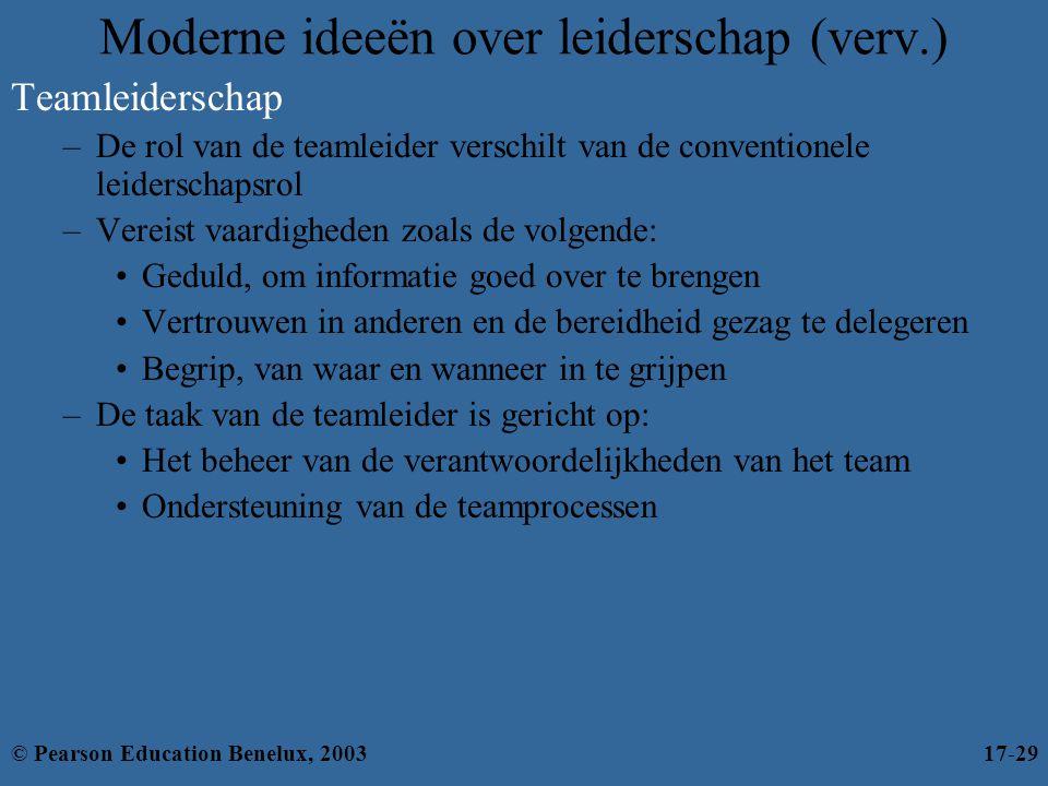 Moderne ideeën over leiderschap (verv.) Teamleiderschap –De rol van de teamleider verschilt van de conventionele leiderschapsrol –Vereist vaardigheden