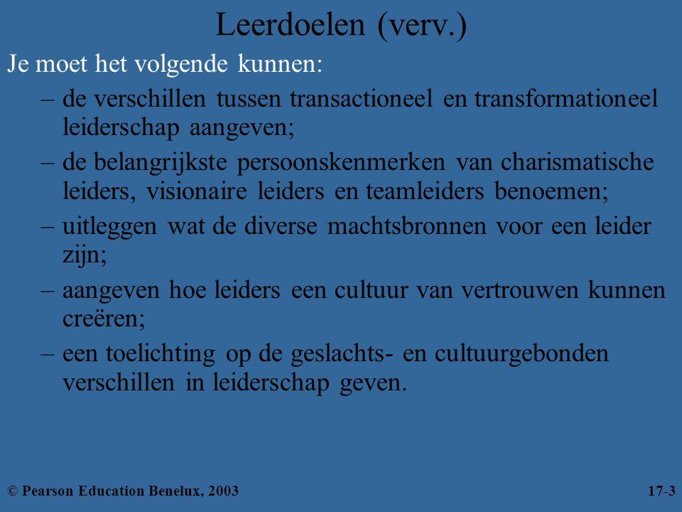 Leerdoelen (verv.) Je moet het volgende kunnen: –de verschillen tussen transactioneel en transformationeel leiderschap aangeven; –de belangrijkste per