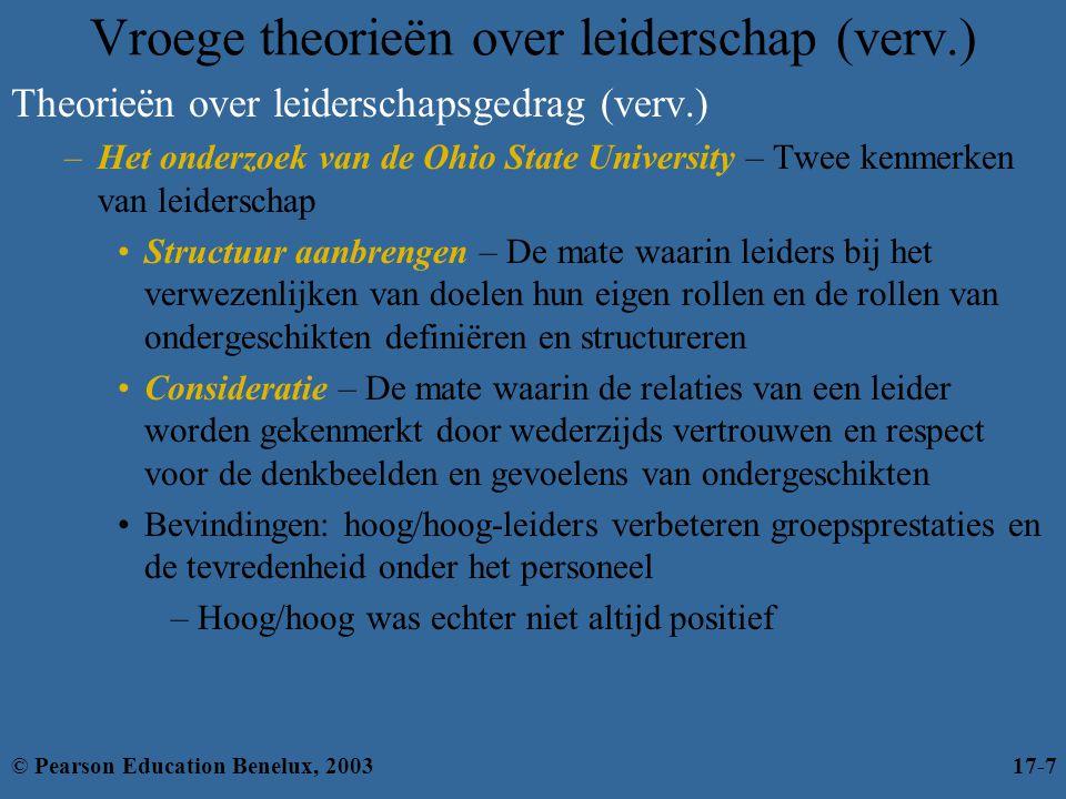 Figuur 17.5: De situatieve leiderschapstheorie © Pearson Education Benelux, 200317-18