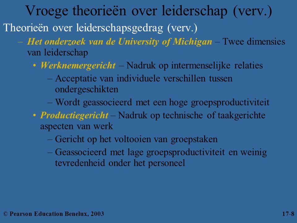 Vroege theorieën over leiderschap (verv.) Theorieën over leiderschapsgedrag (verv.) –Het onderzoek van de University of Michigan – Twee dimensies van