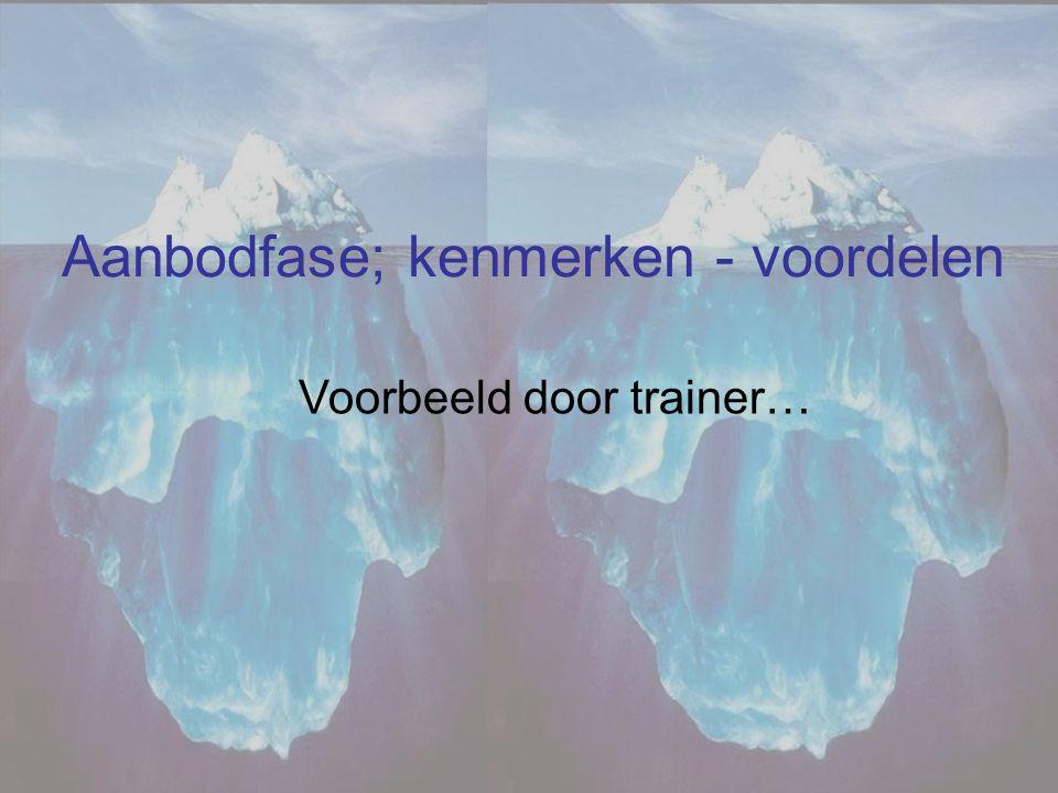 Aanbodfase; kenmerken - voordelen Voorbeeld door trainer…