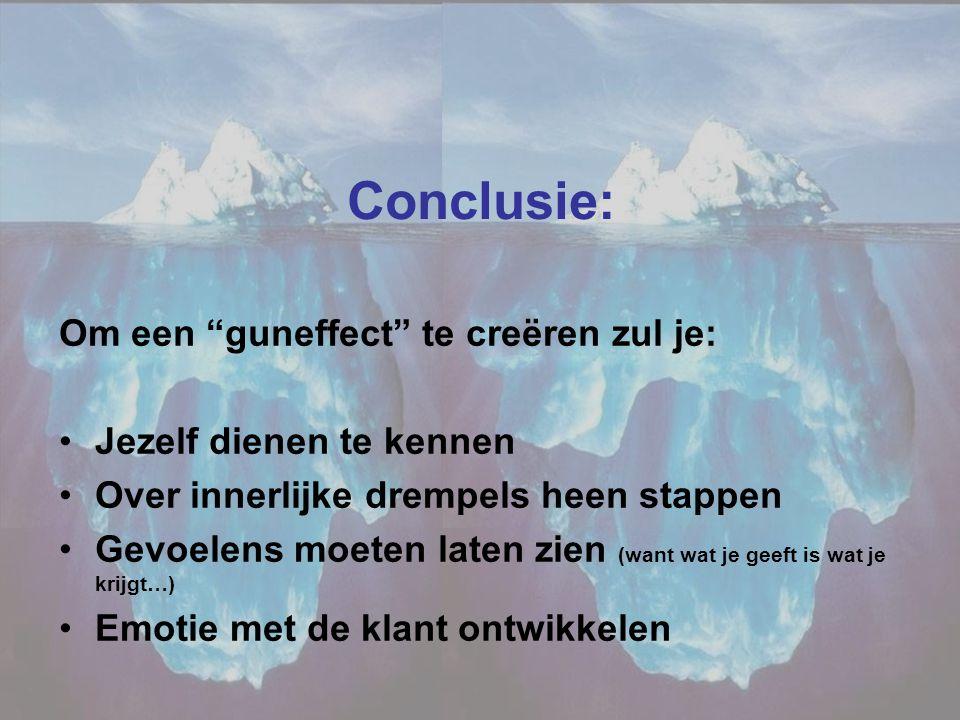 """Conclusie: Om een """"guneffect"""" te creëren zul je: •Jezelf dienen te kennen •Over innerlijke drempels heen stappen •Gevoelens moeten laten zien (want wa"""