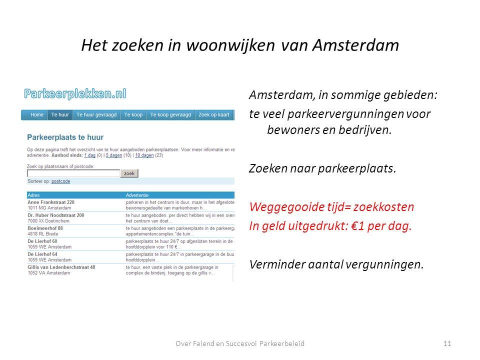 Het zoeken in woonwijken van Amsterdam Amsterdam, in sommige gebieden: te veel parkeervergunningen voor bewoners en bedrijven.