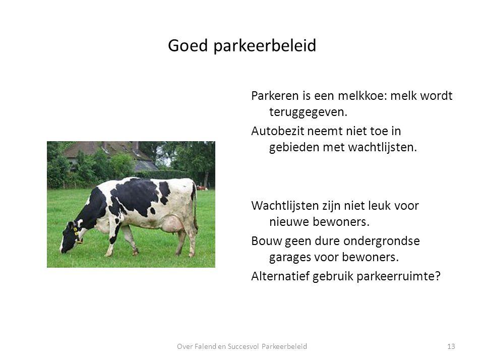 Goed parkeerbeleid Over Falend en Succesvol Parkeerbeleid13 Parkeren is een melkkoe: melk wordt teruggegeven.