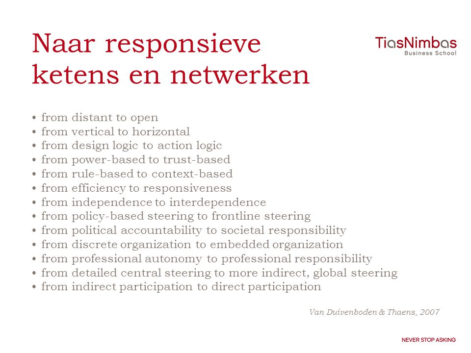 Naar responsieve ketens en netwerken •from distant to open •from vertical to horizontal •from design logic to action logic •from power-based to trust-