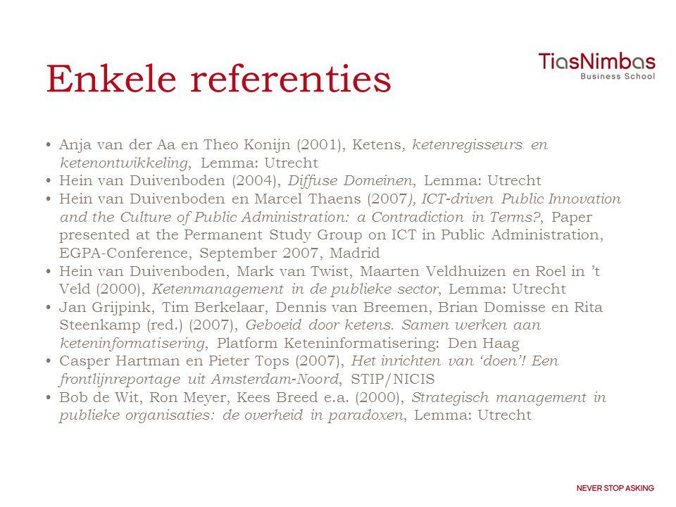 Enkele referenties •Anja van der Aa en Theo Konijn (2001), Ketens, ketenregisseurs en ketenontwikkeling, Lemma: Utrecht •Hein van Duivenboden (2004), Diffuse Domeinen, Lemma: Utrecht •Hein van Duivenboden en Marcel Thaens (2007 ), ICT-driven Public Innovation and the Culture of Public Administration: a Contradiction in Terms?, Paper presented at the Permanent Study Group on ICT in Public Administration, EGPA-Conference, September 2007, Madrid •Hein van Duivenboden, Mark van Twist, Maarten Veldhuizen en Roel in 't Veld (2000), Ketenmanagement in de publieke sector, Lemma: Utrecht •Jan Grijpink, Tim Berkelaar, Dennis van Breemen, Brian Domisse en Rita Steenkamp (red.) (2007), Geboeid door ketens.