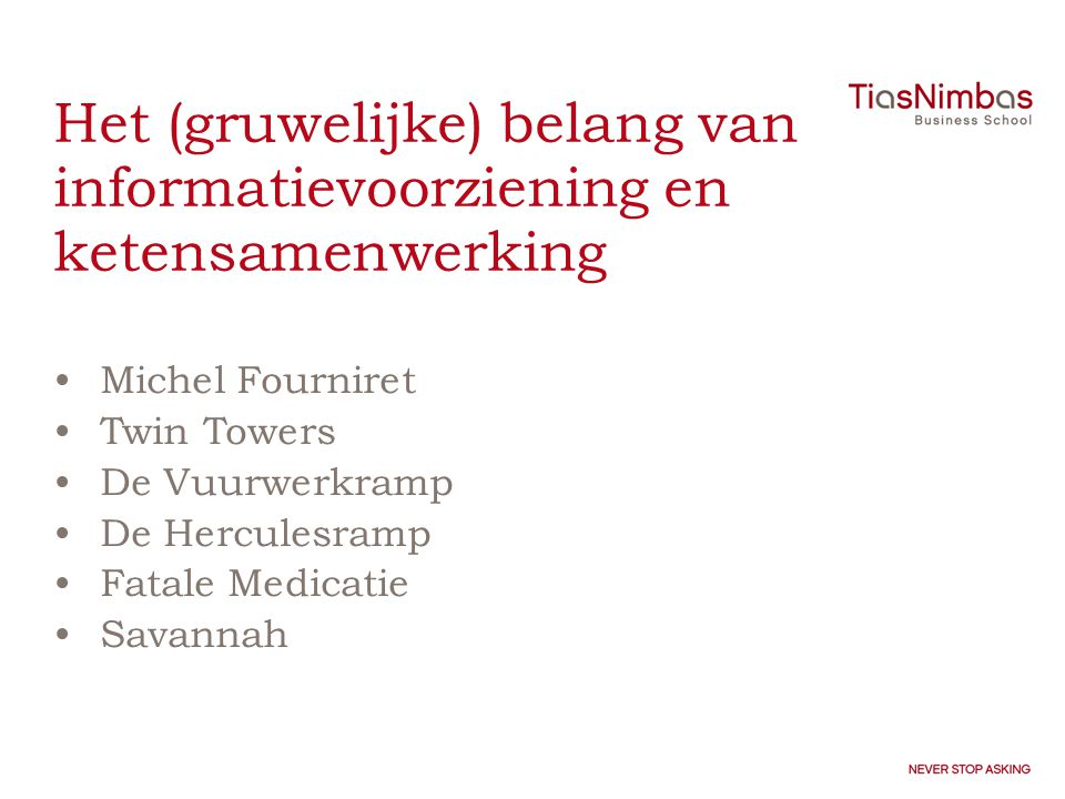 Naar responsieve ketens en netwerken •from distant to open •from vertical to horizontal •from design logic to action logic •from power-based to trust-based •from rule-based to context-based •from efficiency to responsiveness •from independence to interdependence •from policy-based steering to frontline steering •from political accountability to societal responsibility •from discrete organization to embedded organization •from professional autonomy to professional responsibility •from detailed central steering to more indirect, global steering •from indirect participation to direct participation Van Duivenboden & Thaens, 2007