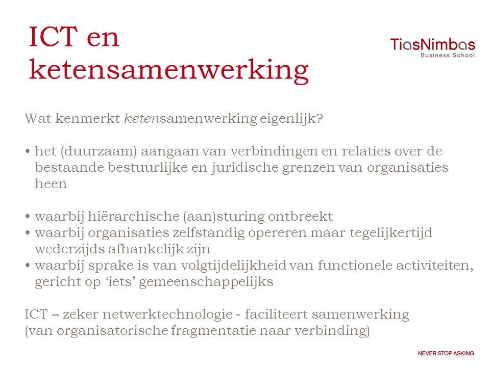 ICT en ketensamenwerking Wat kenmerkt keten samenwerking eigenlijk.