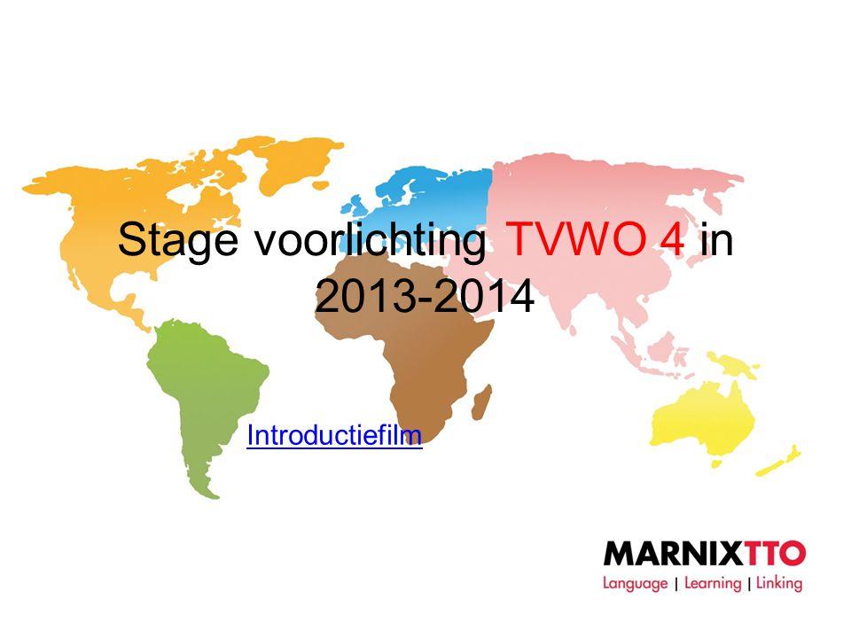 Stage voorlichting TVWO 4 in 2013-2014 Introductiefilm