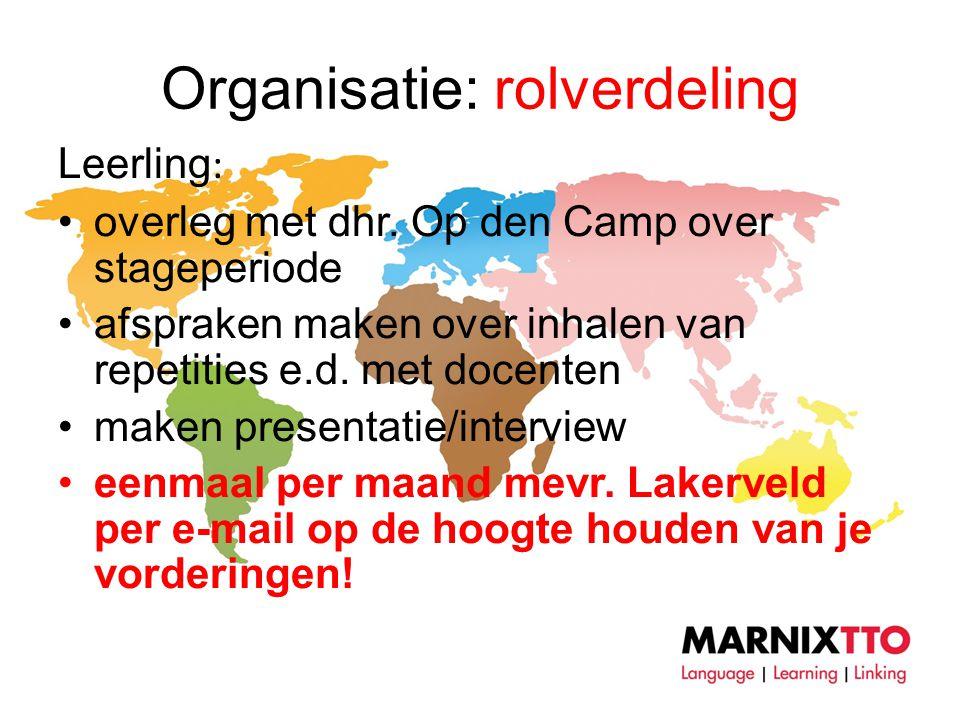 Organisatie: rolverdeling Leerling : •overleg met dhr.