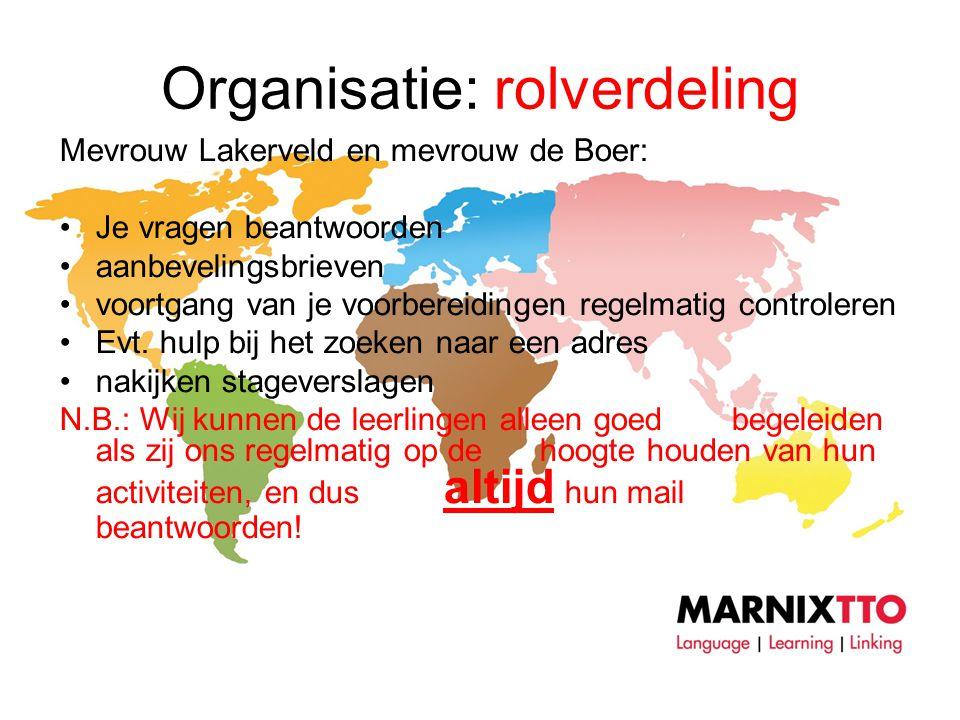 Organisatie: rolverdeling Mevrouw Lakerveld en mevrouw de Boer: •Je vragen beantwoorden •aanbevelingsbrieven •voortgang van je voorbereidingen regelmatig controleren •Evt.