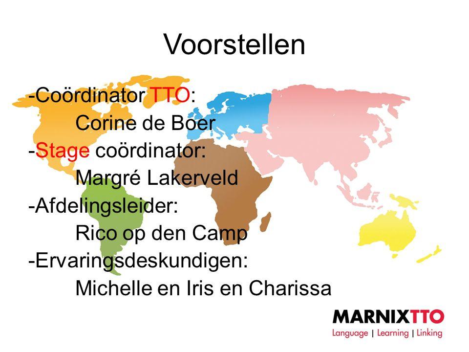 Voorstellen -Coördinator TTO: Corine de Boer -Stage coördinator: Margré Lakerveld -Afdelingsleider: Rico op den Camp -Ervaringsdeskundigen: Michelle en Iris en Charissa