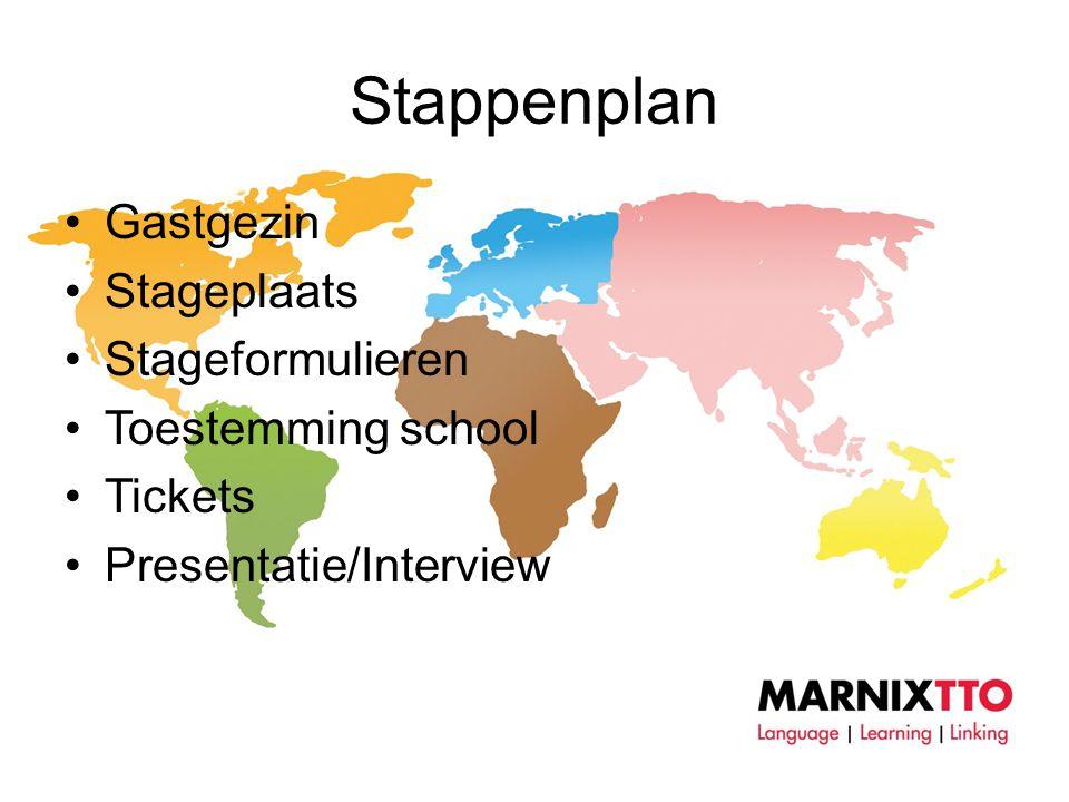 Stappenplan •Gastgezin •Stageplaats •Stageformulieren •Toestemming school •Tickets •Presentatie/Interview