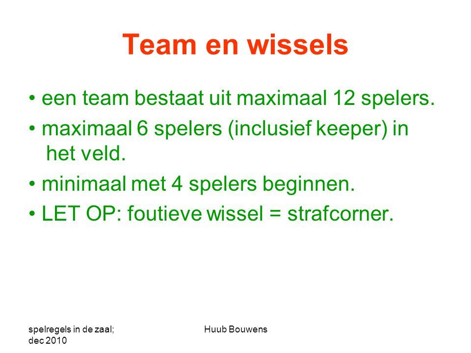 Team en wissels • een team bestaat uit maximaal 12 spelers. • maximaal 6 spelers (inclusief keeper) in het veld. • minimaal met 4 spelers beginnen. •