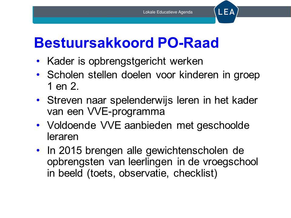 Bestuursakkoord PO-Raad •Kader is opbrengstgericht werken •Scholen stellen doelen voor kinderen in groep 1 en 2.