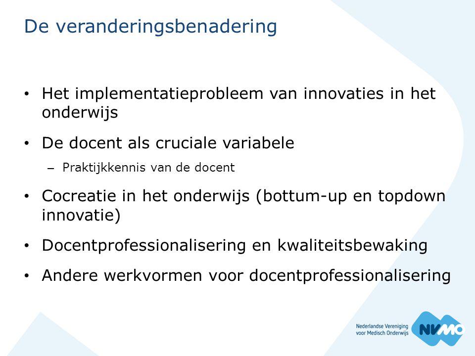 De veranderingsbenadering • Het implementatieprobleem van innovaties in het onderwijs • De docent als cruciale variabele – Praktijkkennis van de docen