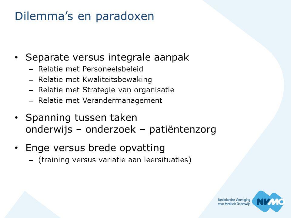 Dilemma's en paradoxen • Separate versus integrale aanpak – Relatie met Personeelsbeleid – Relatie met Kwaliteitsbewaking – Relatie met Strategie van