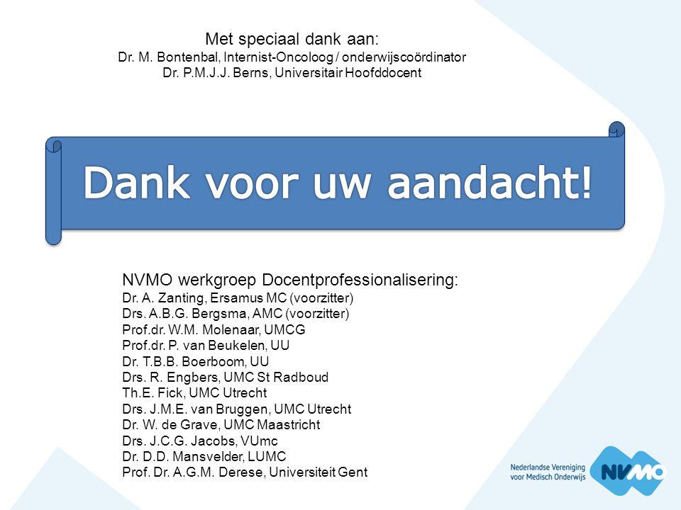 NVMO werkgroep Docentprofessionalisering: Dr. A. Zanting, Ersamus MC (voorzitter) Drs. A.B.G. Bergsma, AMC (voorzitter) Prof.dr. W.M. Molenaar, UMCG P