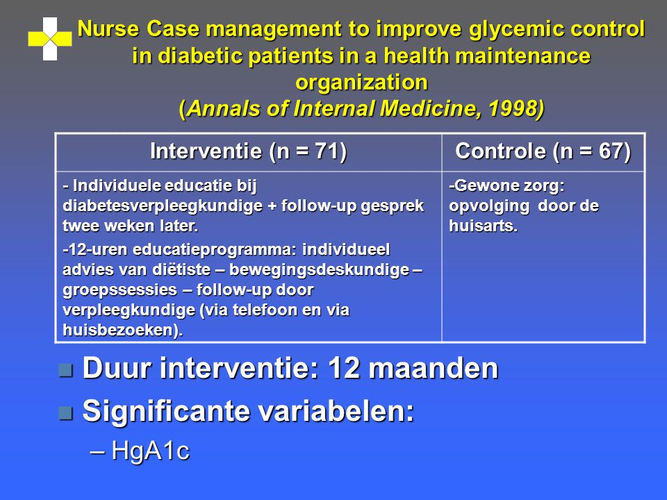 Nurse Case management to improve glycemic control in diabetic patients in a health maintenance organization (Annals of Internal Medicine, 1998) n Duur