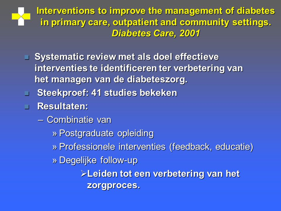 Interventions to improve the management of diabetes in primary care, outpatient and community settings. Diabetes Care, 2001 n Systematic review met al