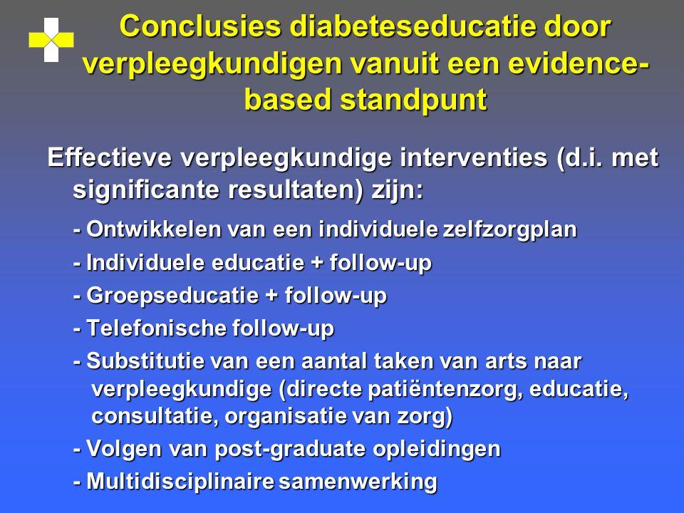 Conclusies diabeteseducatie door verpleegkundigen vanuit een evidence- based standpunt Effectieve verpleegkundige interventies (d.i.