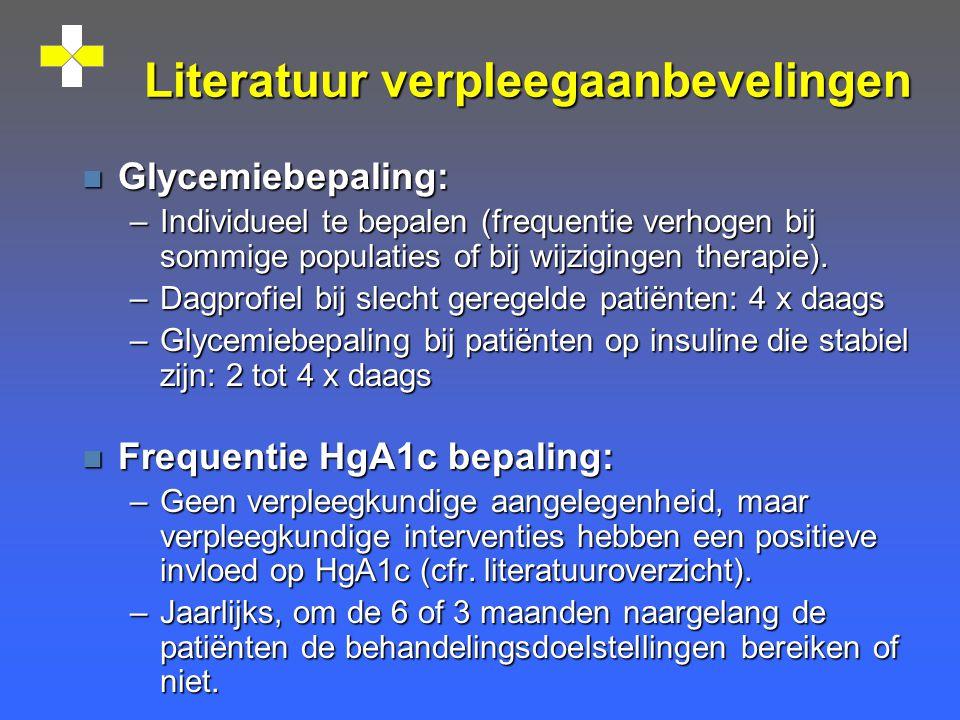 Literatuur verpleegaanbevelingen n Glycemiebepaling: –Individueel te bepalen (frequentie verhogen bij sommige populaties of bij wijzigingen therapie).