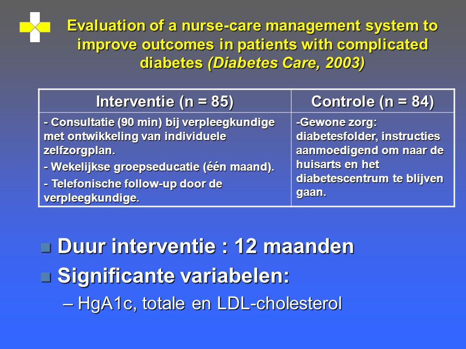 Evaluation of a nurse-care management system to improve outcomes in patients with complicated diabetes (Diabetes Care, 2003) n Duur interventie : 12 m