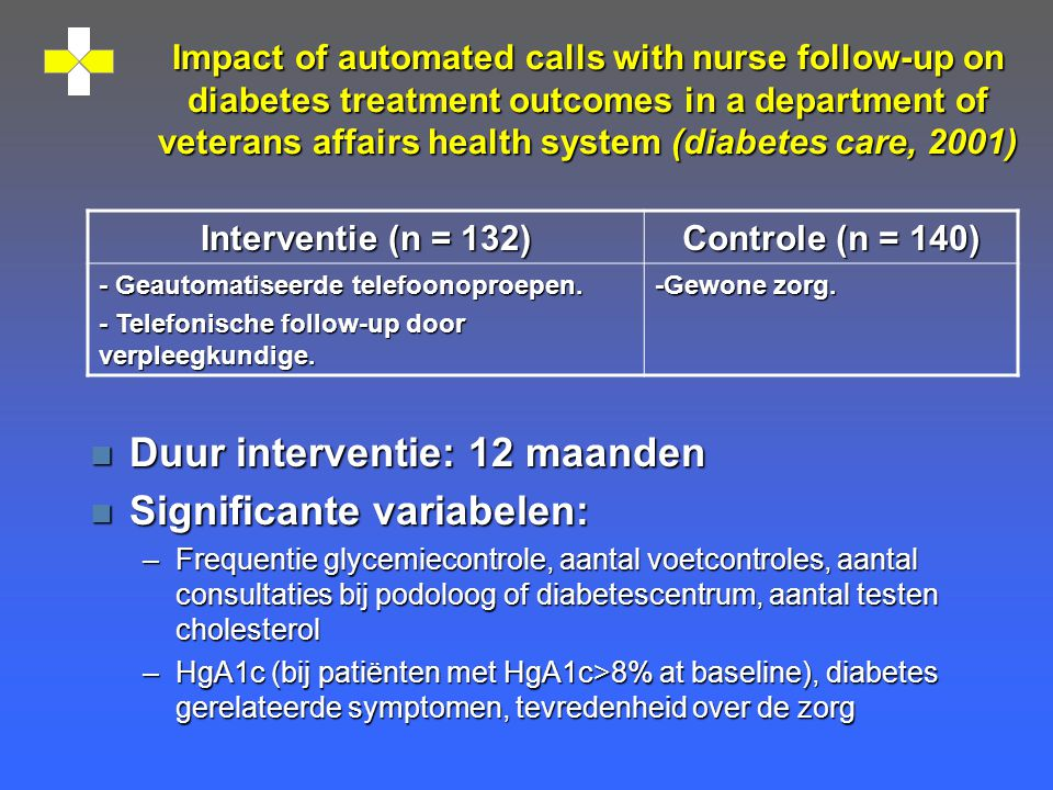 Impact of automated calls with nurse follow-up on diabetes treatment outcomes in a department of veterans affairs health system (diabetes care, 2001)