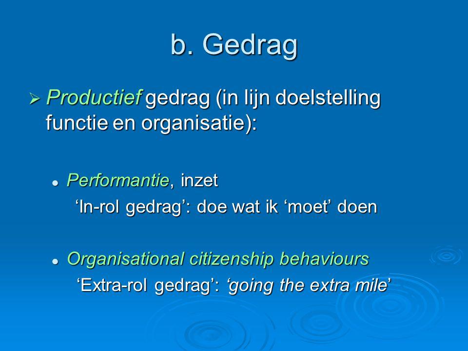 b. Gedrag  Productief gedrag (in lijn doelstelling functie en organisatie):  Performantie, inzet 'In-rol gedrag': doe wat ik 'moet' doen  Organisat